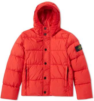 Stone Island Junior Crinkle Nylon Hooded Down Jacket