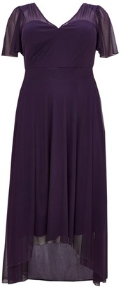 Scarlett & Jo **Scarlett Jo Purple Pleated Hem Maxi Dress
