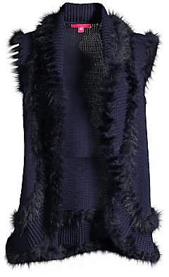 Lilly Pulitzer Women's Trinette Faux Fur-Trim Knit Vest