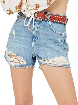 Topshop PETITE Distressed Mom Shorts
