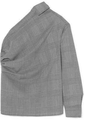 Max Mara Pepaia One-shoulder Prince Of Wales Checked Wool Top - Gray