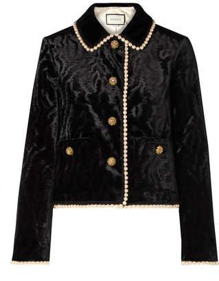Gucci Faux Pearl And Swarovski Crystal-embellished Devoré-velvet Jacket - Black
