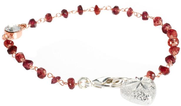 Sam Ubhi Garnet & Rose Gold Braclete with Heart Charm
