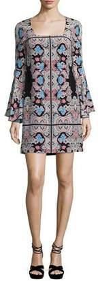 Nanette Lepore Stargazer Bell-Sleeve Silk Kaleidoscope Mini Dress, Black/Multicolor $498 thestylecure.com