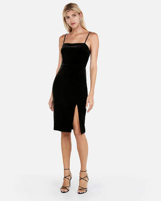 Express Petite Velvet Front Slit Sheath Dress