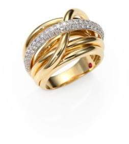 Roberto Coin Classica Diamond& 18K Yellow Gold Crossover Ring