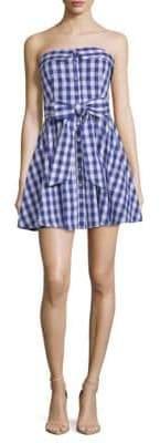 Strapless Tie Gingham Flare Dress