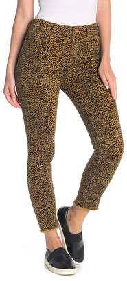 Current/Elliott The Stiletto Leopard Print Frayed Hem Jeans