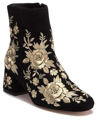 Johnny Was Retro Metallic Black Suede Embroidered Boot