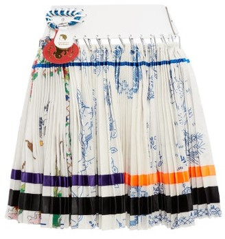 Chopova Lowena - Floral Embroidered Recycled Tapestry Skirt - Womens - White Multi