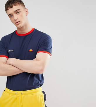 Ellesse Ringer T-Shirt With Small Logo In Navy
