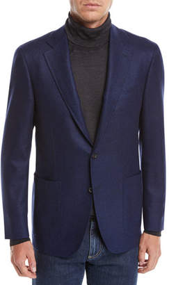 Canali Men's Solid Herringbone Two-Button Blazer