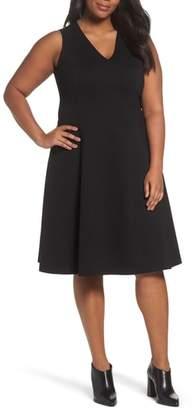 Sejour V-Neck Ponte Fit & Flare Dress