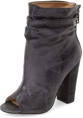YDN Womens Peep Toe Slouch Booties Ankle High Leather Stacked Chunky Heel Zipper Shoes Size 9.5