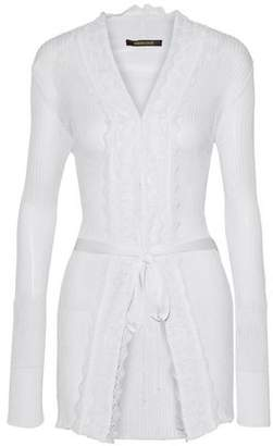Roberto Cavalli Belted Ribbed-Knit Cardigan