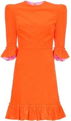 The Vampire's Wife Festival three-quarter sleeve ruffle detail mini dress