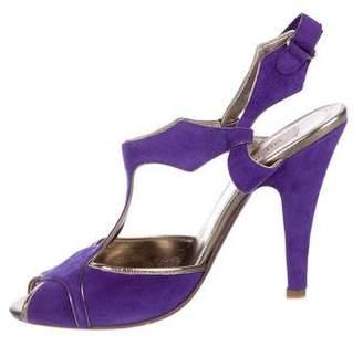 Valentino Suede T-Strap Sandals