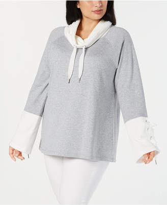 Calvin Klein Plus Size Cowl-Neck Bell-Sleeve Top