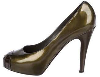 Chanel CC Patent Leather Cap-Toe Platform Pumps