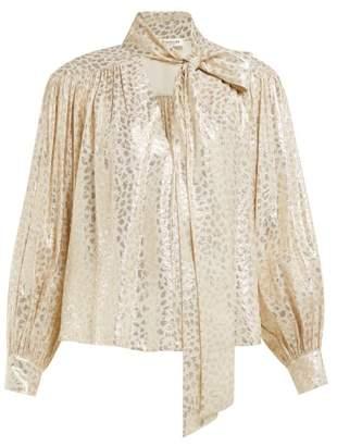 Masscob Reina Leopard Brocade Silk Blend Blouse - Womens - Gold