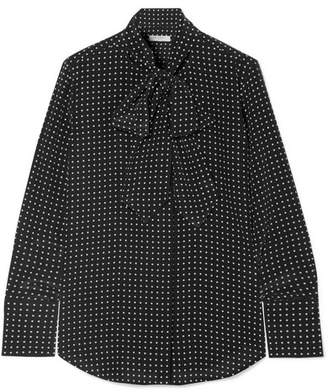 Equipment Luis Pussy-bow Polka-dot Washed-silk Blouse - Black