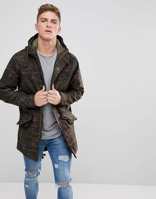 Jack and Jones Originals Lightweight Parka In Camo