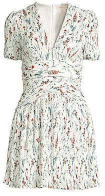 Maje Women's Herbier Print Pleated Crepe Dress