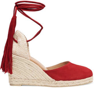 Castañer - Carina Fringed Suede Wedge Espadrilles - Red $240 thestylecure.com