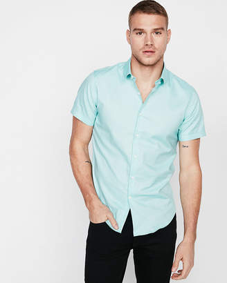 Express Slim Solid Short Sleeve Oxford 1Mx Dress Shirt