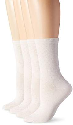 Peds Women's Spiraling Floral and Dot Crew Socks 4 Pairs