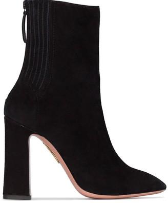 Aquazzura black Saint Honore 105 suede ankle boots
