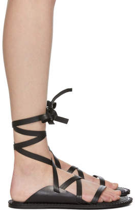 Ann Demeulemeester Black Leather Sandals