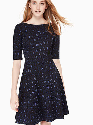 Kate Spade Leopard-print Lace-up Ponte Dress, Light Adriatic Blue - Size XXS
