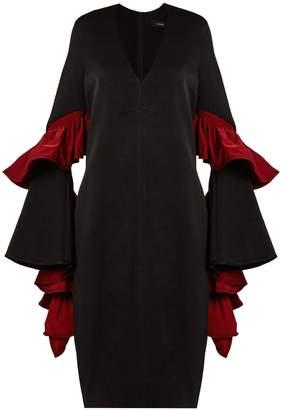 Ellery Molotov ruffled-sleeve cady midi dress