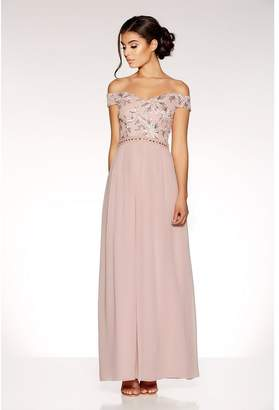 Quiz Dusty Pink Bardot Embroidered Maxi Dress