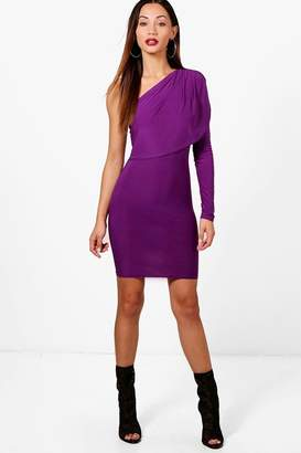 boohoo Petite Slinky Asymmetric Mini Dress