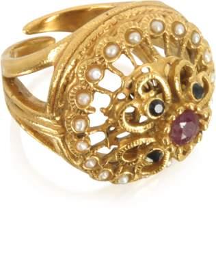 Alcozer & J Mandala Ring w/Stones & Pearls