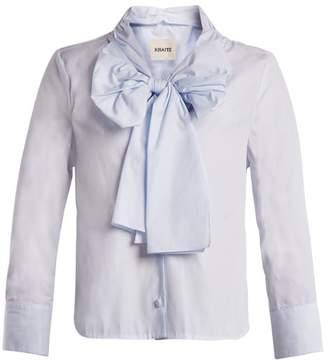 Khaite - Natalie Decorative Bow Cotton Blouse - Womens - Light Blue
