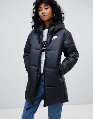 ec76b81057 Nike Black Small Logo Longline Padded Jacket