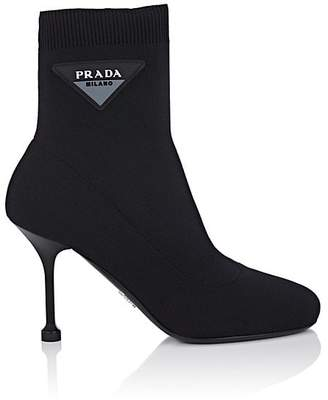 Prada Women's Logo-Patch Tech-Knit Ankle Boots