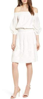 Chelsea28 Embroidered Off the Shoulder Blouson Dress