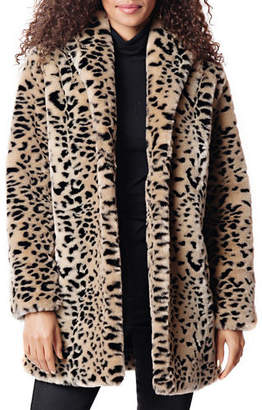 Fabulous Furs Leopard Faux Fur Shawl Jacket