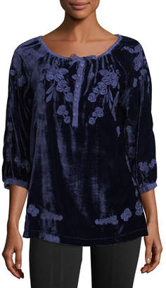 XCVI Embroidered Silk-Blend Velvet Tunic