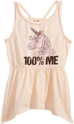 Kandy Kiss Unicorn Braided Trim Tank Top, Big Girls