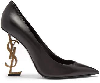 Saint Laurent Opyum logo-heel leather pumps