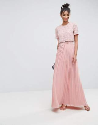 Asos DESIGN Embellished Short Sleeve Pleated Maxi Dress