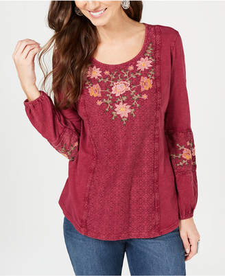 Style&Co. Style & Co Embroidered-Panel Peasant Top, Created for Macy's