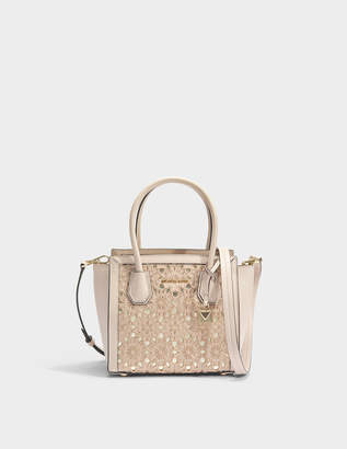 MICHAEL Michael Kors Mercer Studio Medium Messenger Bag in Soft Pink Flower Embroidered Smooth Leather