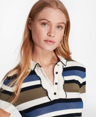 Brooks Brothers Striped Bird's-Eye-Knit Cotton Polo Sweater