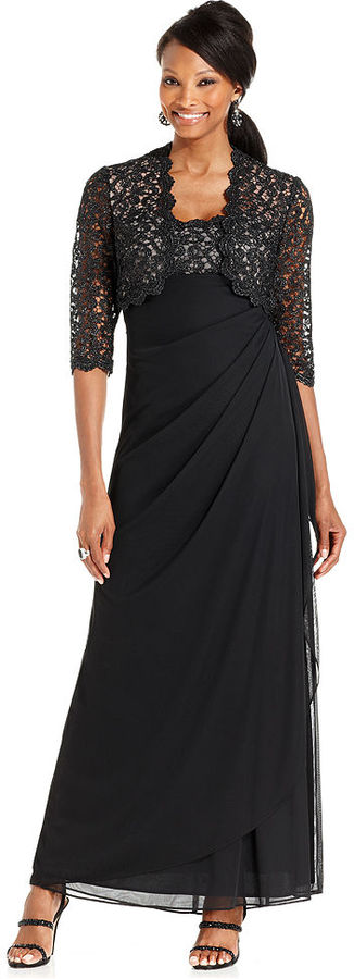 Xscape Evenings Sleeveless Metallic Lace Draped Gown and Jacket
